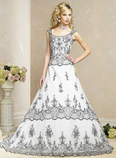 embroidered-color-wedding-dresses-gray-uneven-hem-fake-two-pieces-round-neck-1