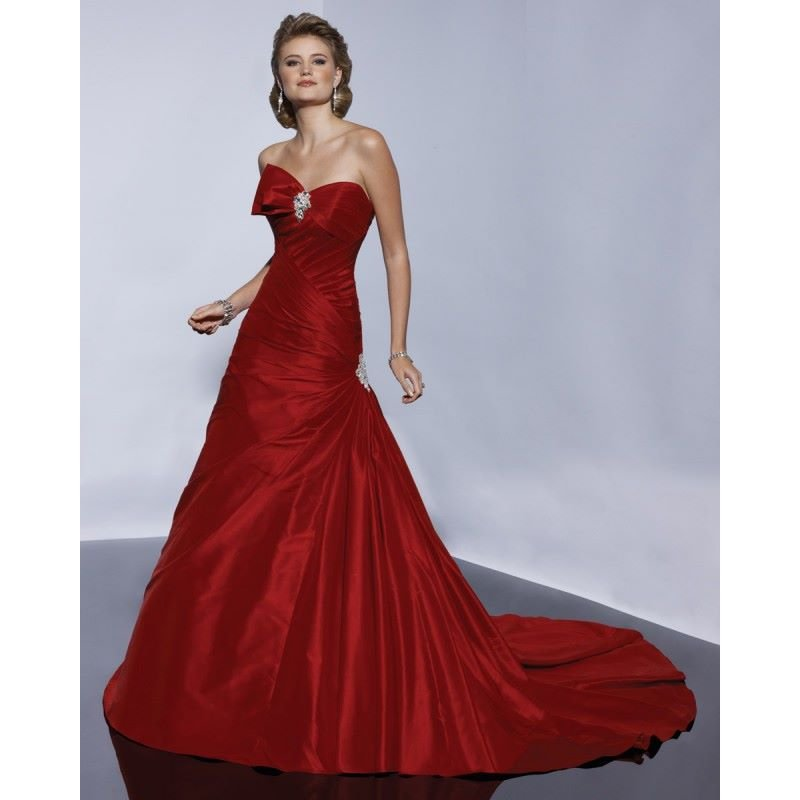 strapless-satin-red-colored-princess-wedding-dresses-online