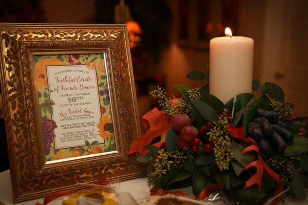 "Fairy Godmother Design, ""Faithful Circle of Friends"" Fall Harvest Dinner."