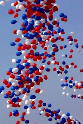 red white blue baloons