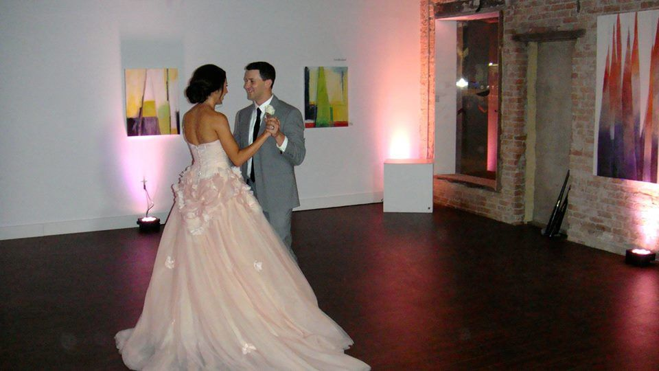 Sweet moment...Greg and Hillary practicing their first dance just before guests arrived in party room.