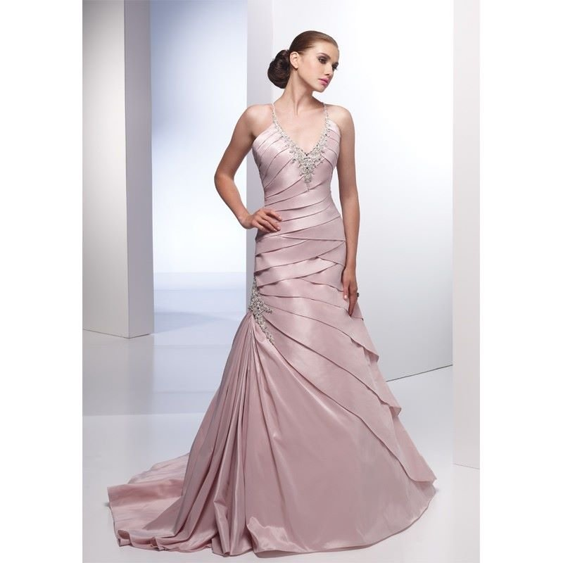 special-pink-colored-pleated-wedding-dresses-mermaid