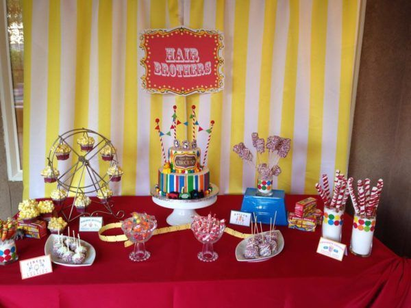Hair Brothers Circus Themed Birthday Sweets Table