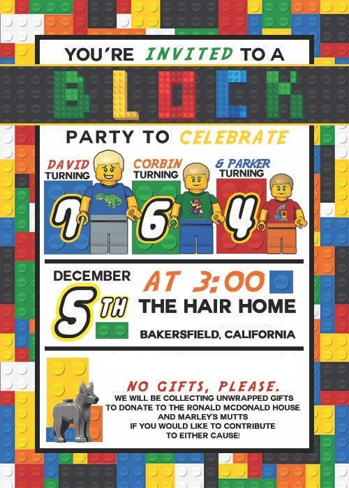Hair Lego Birthday Invitation