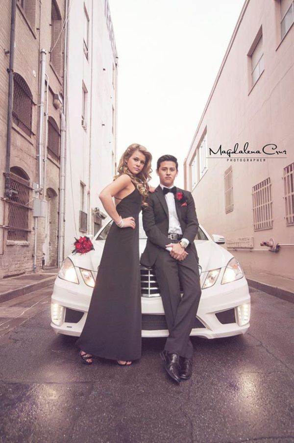Magdalena's son and his date posing as her models.